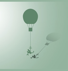 woman flying on air balloons vector image
