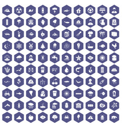 100 earth icons hexagon purple vector