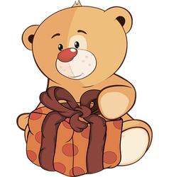 A stuffed toy bear cub and a box cartoon vector