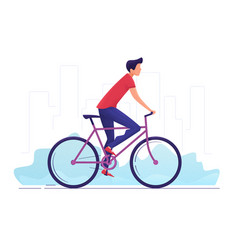 a young man cycling around vector image