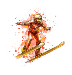 abstract jumping skier from a splash of watercolor vector image