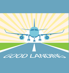 Airplane make good landing symbol excellent vector