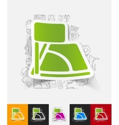 Angle paper sticker with hand drawn elements vector