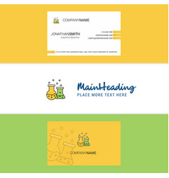 beautiful chemical flask logo and business card vector image