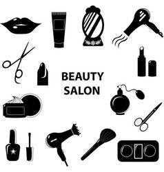 beauty salon set of flat cartoon icons business vector image