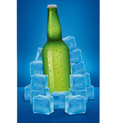 beer bottle in ice cubes with many water drops vector image vector image