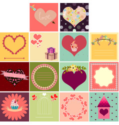 big set of cards for valentines day vector image