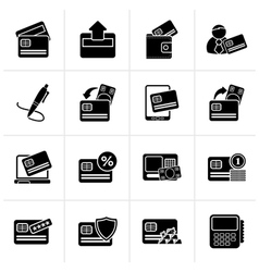 Black credit card POS terminal and ATM icons vector image