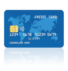blue contactless credit card template of plastic vector image