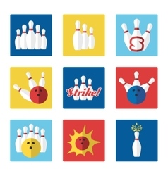 Bowling flat colorful icons set vector