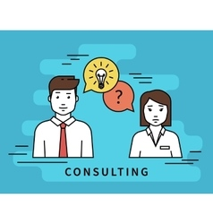 Business woman and male consultant with question vector image