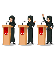 Businesswoman with veil giving a speech vector
