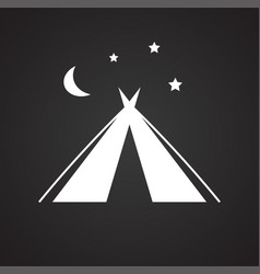 Camping tent icon on black background for graphic vector