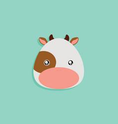cartoon cow face vector image