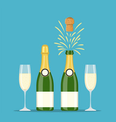 champagne bottles and glasses vector image