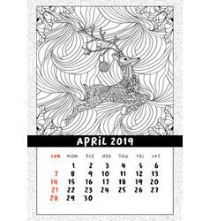 christmas deer calendar calendar april 2019 year vector image
