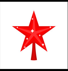 Christmas red star for tree decoration for vector