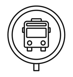 circle bus stop sign icon outline style vector image