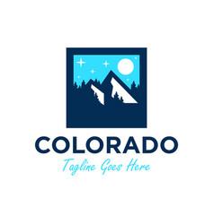 colorado mountain scenery logo vector image