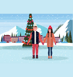 couple skaters standing ice rink decorated vector image