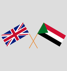 Crossed flags sudan and uk official colors vector