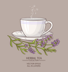 Cup of lavender tea vector
