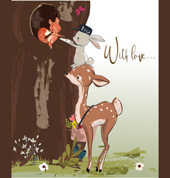 cute fawn and hare with letter vector image