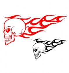 Danger skull with flames vector