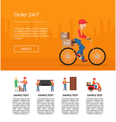 Delivery flat elements website landing page vector
