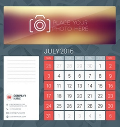 Desk Calendar for 2016 Year July Stationery Design vector
