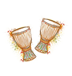 Drums tam tam with splashes in watercolor style vector