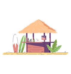 Empty beach bar and surfboards flat doodle vector