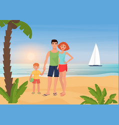 family happy people enjoy tropical island paradise vector image