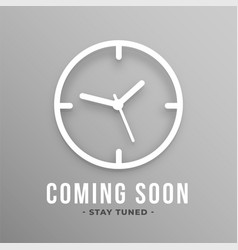 Flat coming soon background with clock vector