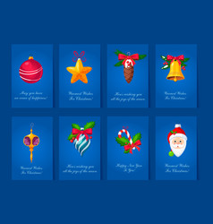 Flat set of greeting cards for christmas vector