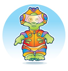 Funny alien wearing space suit vector image