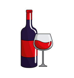 glass and bottle of wine tasty icon vector image