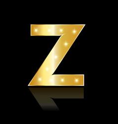 golden letter z shiny symbol vector image