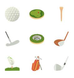 golf equipment icons set cartoon style vector image