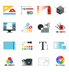 Graphic or web designers tools different working vector