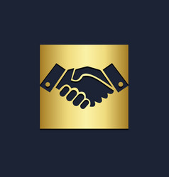 hand shake deal business gold logo vector image