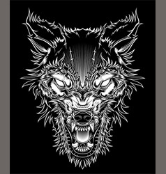 head ferocious wolf outline silhouette on a black vector image