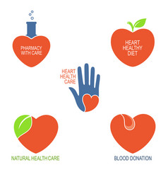Heart health care icons vector