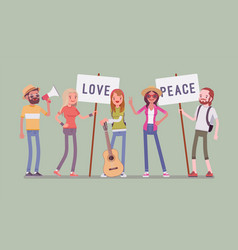 hippie movement demonstration vector image