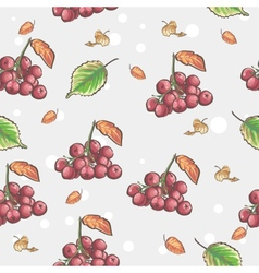 Image of seamless pattern with berries and autumn vector image vector image