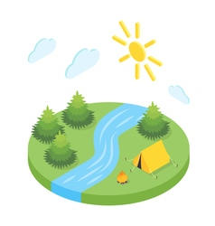 isometric 3d forest camp vector image
