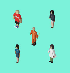 isometric people set of girl doctor cleaner and vector image