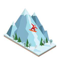 Isometric santa claus pulls off the vector