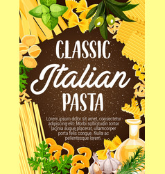 Italian pasta with greenery and olive oil vector