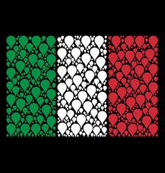 Italy flag pattern of map pointer icons vector